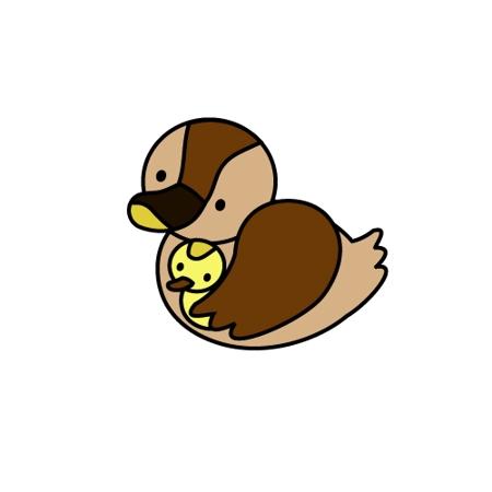 Ayakotakahashiさんの事例 実績 提案 急募 カルガモがひな鳥を抱いているpopなイラスト Jaws Desig クラウドソーシング ランサーズ