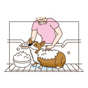 tsubasa1993さんのペット(犬)をシャンプーしているイラスト作成への提案