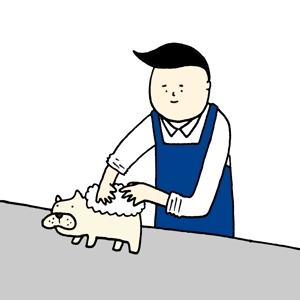 ToyaHataさんのペット(犬)をシャンプーしているイラスト作成への提案