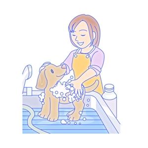 ima_gogoさんのペット(犬)をシャンプーしているイラスト作成への提案