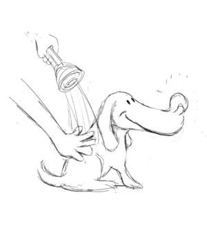 cesarkayanokiさんのペット(犬)をシャンプーしているイラスト作成への提案