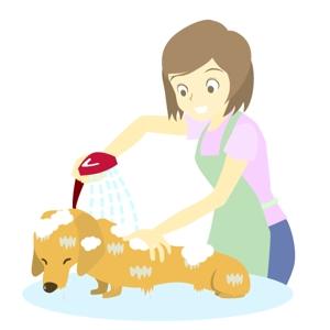 okumocchiさんのペット(犬)をシャンプーしているイラスト作成への提案