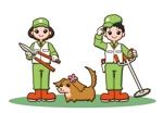造園作業の男の子、女の子、犬のキャラクターデザインへの提案