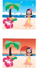 m-kotobukiさんのハワイをイメージしたイラスト 2点への提案