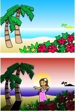 tidemaruさんのハワイをイメージしたイラスト 2点への提案